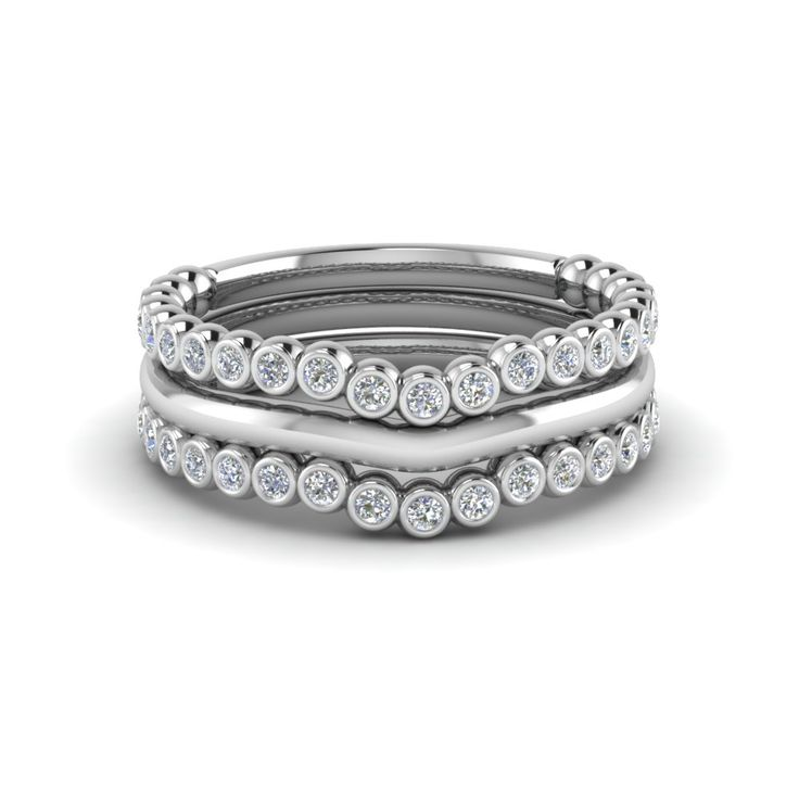 18k White Gold And Diamond Stackable Bands