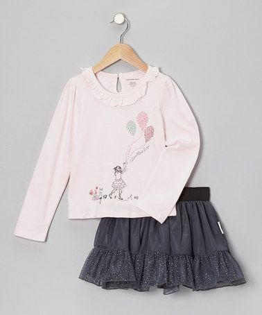 Another great find on #zulily! Pink Balloon Top & Gray Glitter Skirt - Infant, Toddler & Girls #zulilyfinds
