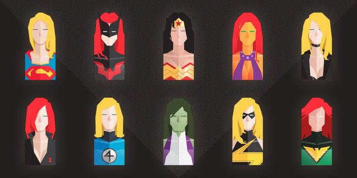 Free Set of Flat Female Super Heroes Busts | by Dimitrios Pantazis