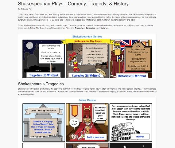 Screenshot of an article about Shakespearian Plays