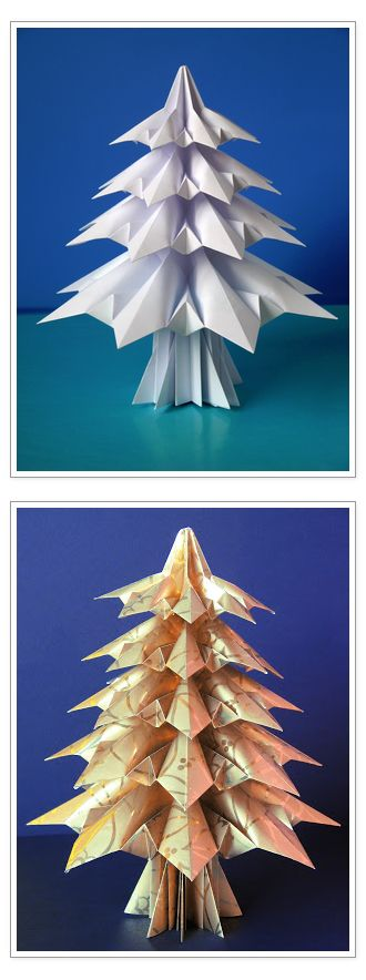 "Origami Christmas Tree. Original model ""Abete 3 - Fir tree 3"", designed and folded by Francesco Guarnieri. Link to the CP and video: http://guarnieri-origami.blogspot.it/2012/11/abete-3-questo-abete-che-ho-ideato-in.html"