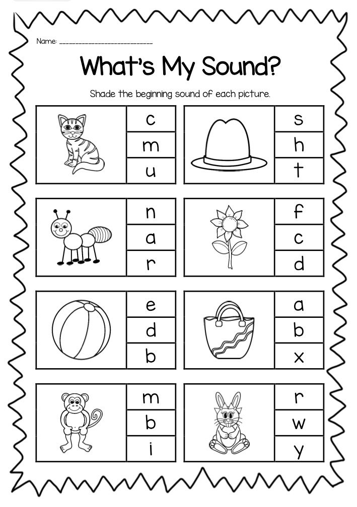 Matching beginning sounds worksheets kindergarten