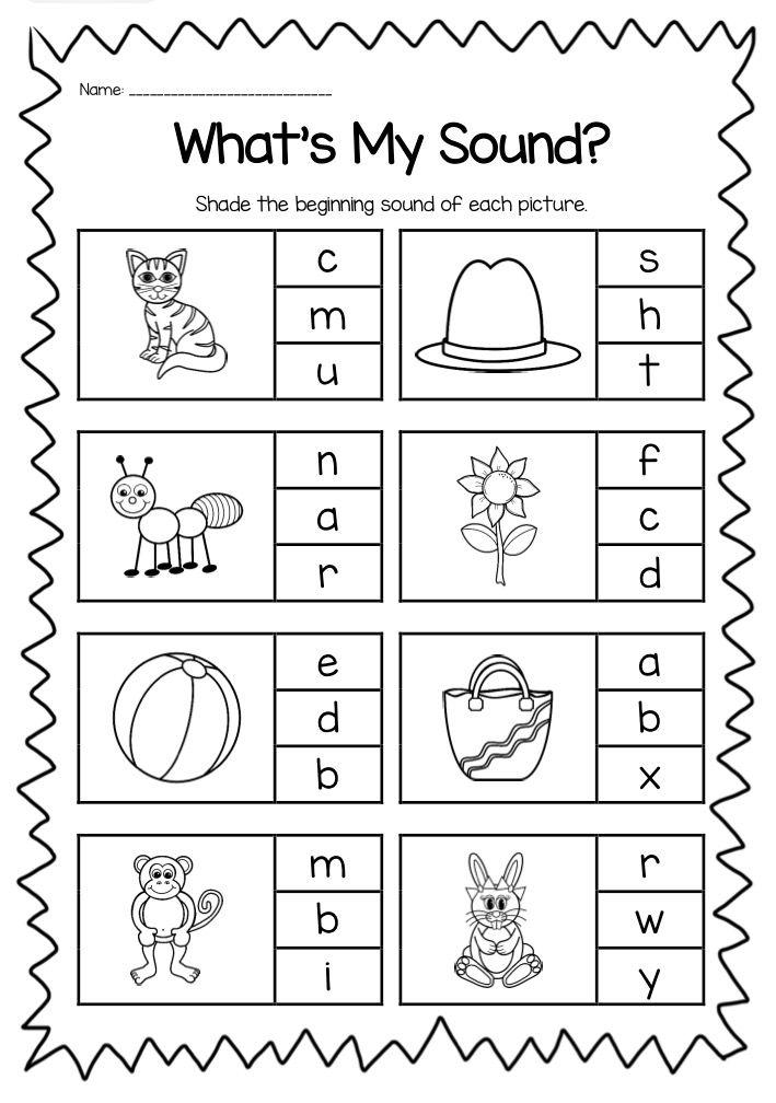Beginning Sounds Printable Worksheet Pack - Kindergarten ...