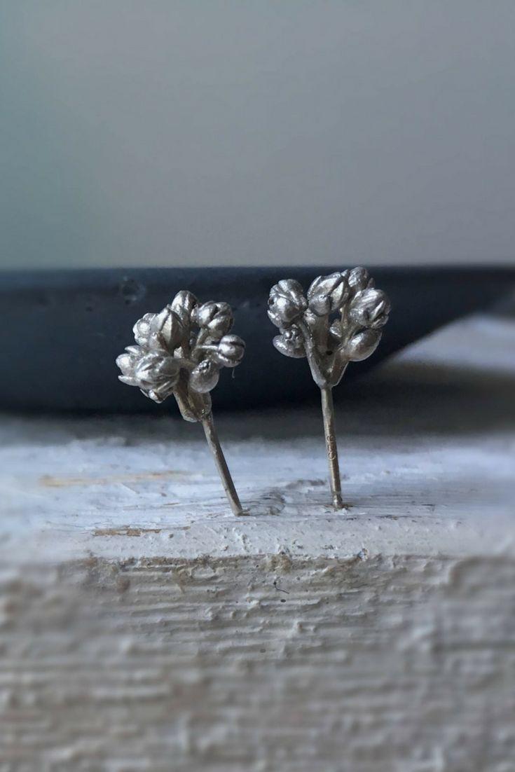Succulent stud earrings-Sterling silver studs-Nature inspired jewelry-Silver bouquet earrings
