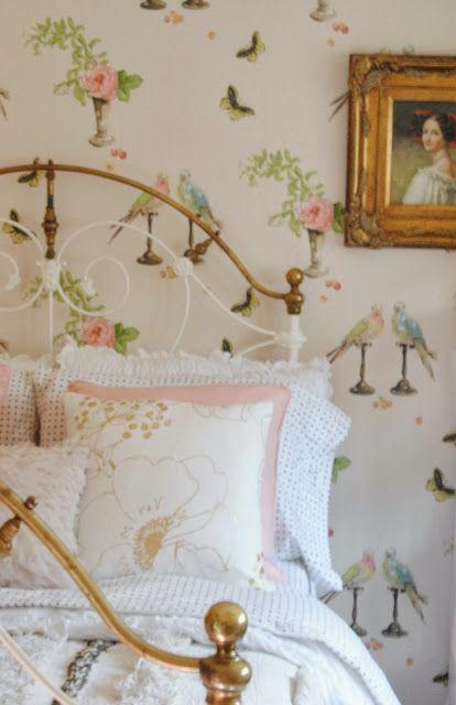 Cottage bedroom. Love the wallpaper.