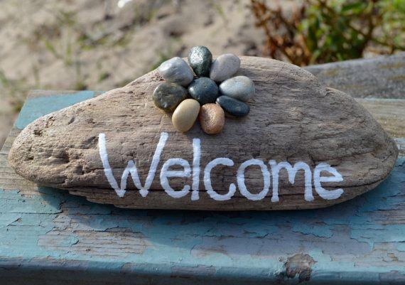 Welkom kunst drijfhout kunst welkom teken door BeachMemoriesByJools