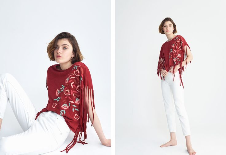 Fringe embroidery t-shirt