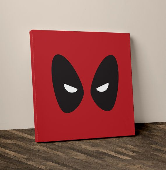 Superhero Art Deadpool Playroom Decor Canvas by TheHappyWallCo