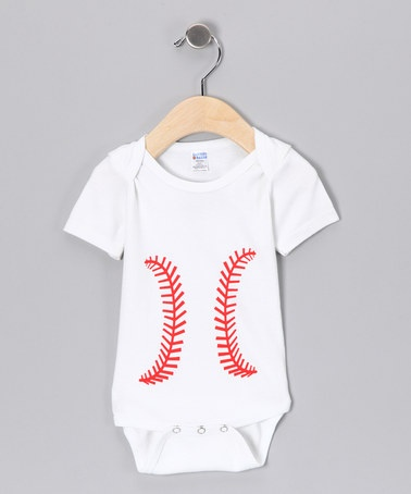 Take a look at this White Baseball Bodysuit - Infant by Bambino Balls on #zulily today!