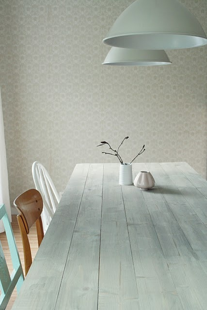 white wash table top  different coloured chairs   simplicity    u22f0 Inside   Pinterest   Beautiful
