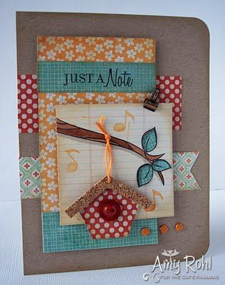 "Love the ""just a note"" sentiment paired with the bird house and music notes!"