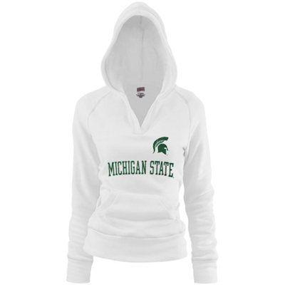 Michigan State Spartans Ladies White Rugby Vintage Hoodie Sweatshirt