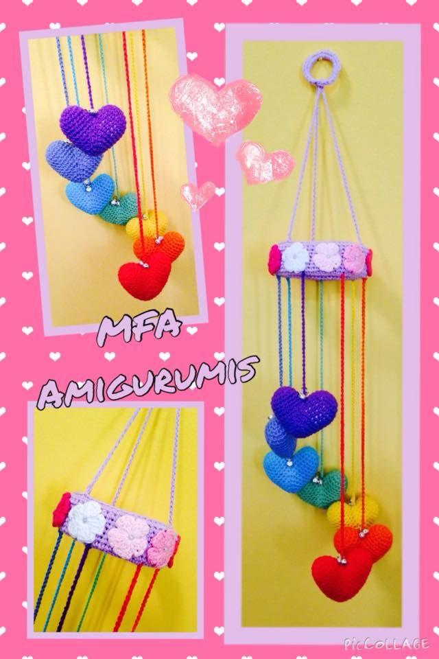 Móvil corazones Arcoiris www.facebook.com/MFAAmigurumis