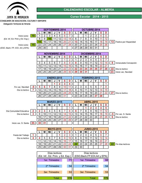 Calendario Escolar Almería 2014-2015 - Junta de Andalucía - IR A LA ESCUELA - CyberPadres