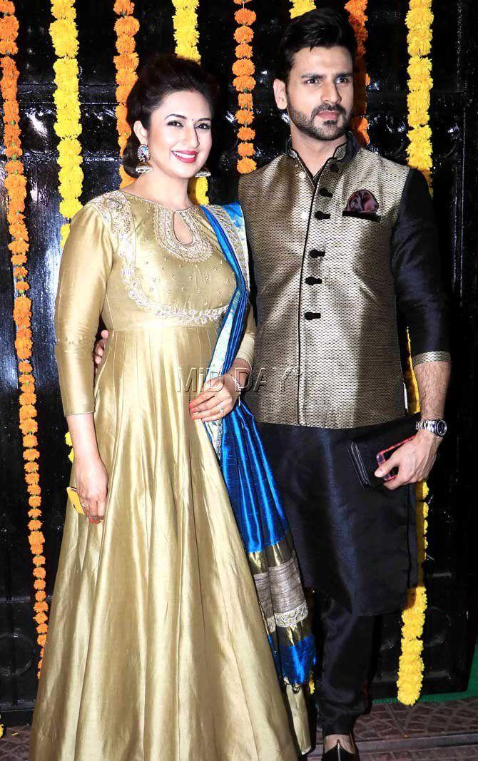 Divyanka Tripathi with husband Vivek Dahiya : Photos: Ekta Kapoor's grand, star-studded Diwali bash