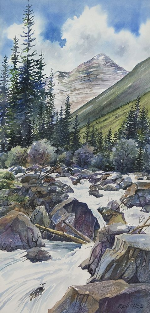 Raging Water Watercolor Painting By Renae Hill