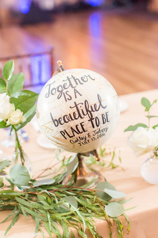 Looking for ideas for a travel-themed wedding? Click to view more from this rustic NJ wedding featuring  a globe center piece at the sweetheart table!  Photos by Idalia Photography @hestate