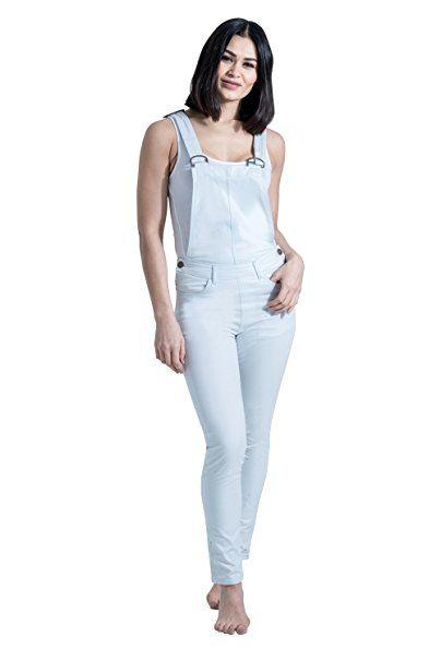 USKEES Slim Fit Latzhose - Blassblau Damen Bib Overalls EU 34-46  COCOPOWDER-6 - Jeanshose frauen jeanshosen damen jeans out…   Jeanshosen  Frauen Trends in ... 638a095705