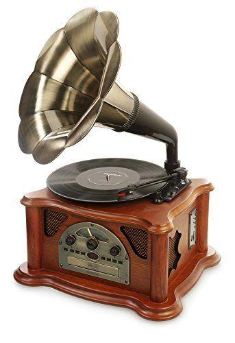 Elegante cadena de música de Ricatch con diseño de gramófono.Puerto USB y lector SD para la reproducción desde dispositivoscompatibles.Compatibles con MP3. Tocadiscos y radio F