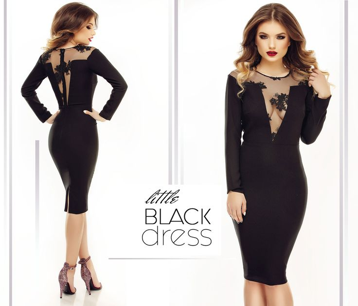 Awesome little black dress with midi length and sequined lace!