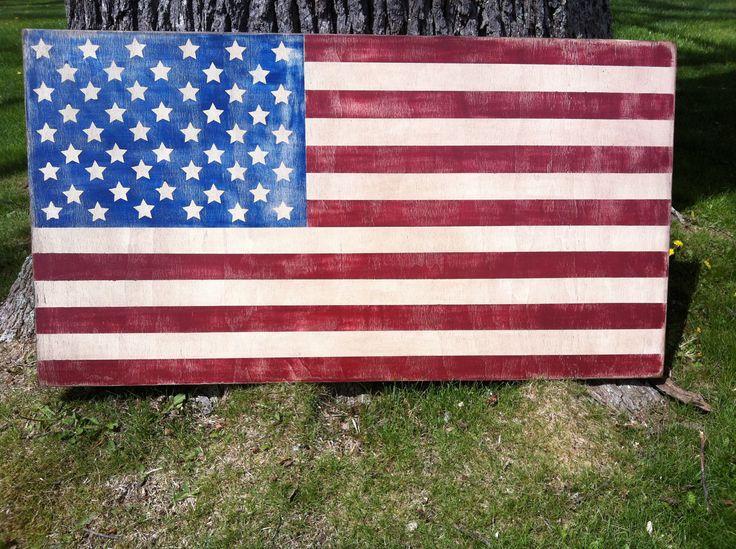 24 x 44 HAND PAINTED Indoor American Flag. $109.00, via Etsy.