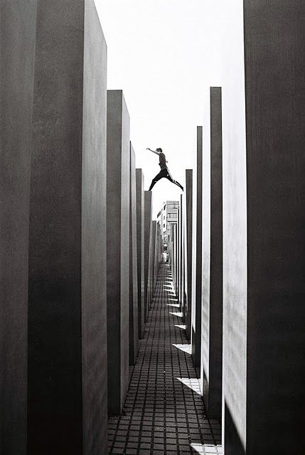 Berlin, Holocaust memorial, buildings get higher as you walk deeper in