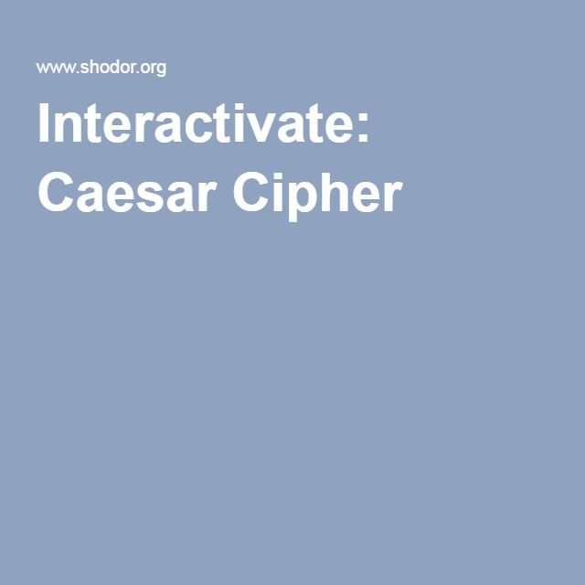 Interactivate: Caesar Cipher