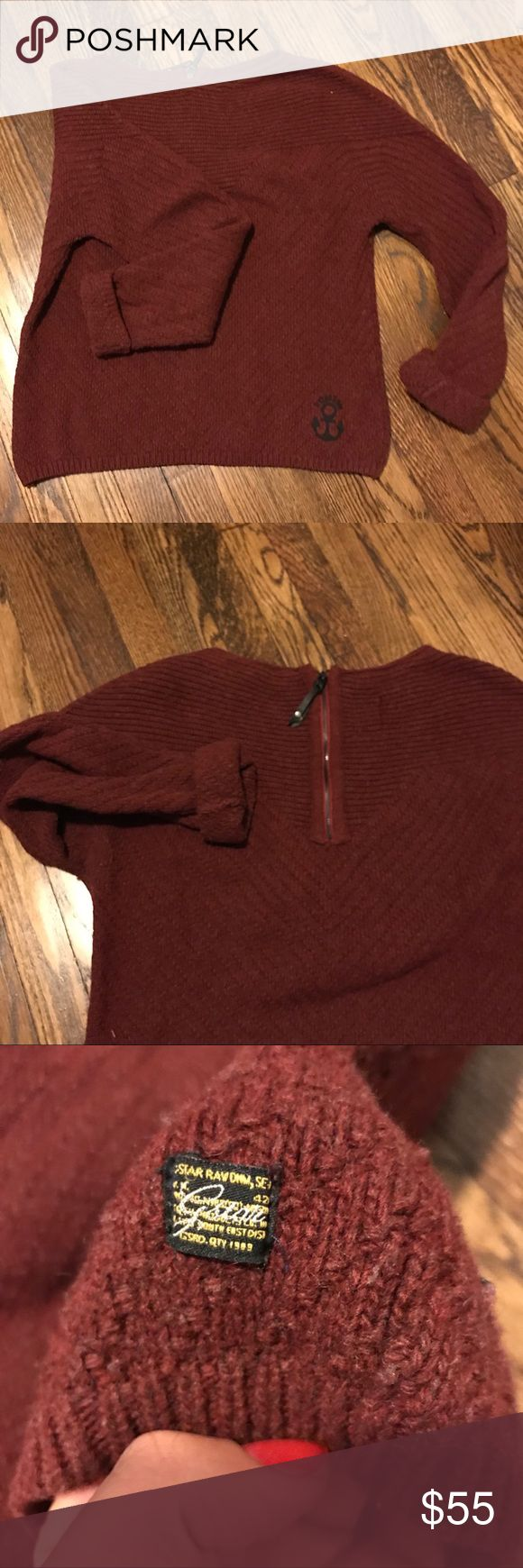 G-star Raw Knitted Sweater Burgundy Sz L This top has only been used a few times so it's in excellent condition. Super warm and cozy. Feminine fit. Has a zipper in the back, mostly for show.  I've cut the tag unfortunately but I think it's a wool mix. Does not itch. G-Star Sweaters Crew & Scoop Necks