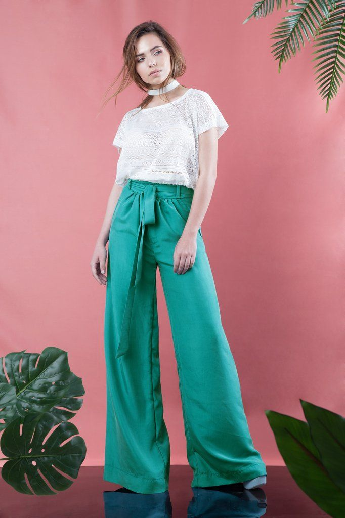 Silk Wide Leg Pants