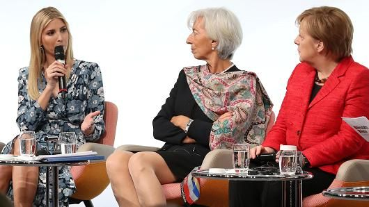 Ivanka Trump, daughter of U.S. President Donald Trump, talks to International Monetary Fund (IMF) Managing Director Christine Lagarde and German Chancellor Angela Merkel on stage of the W20 conference on April 25, 2017 in Berlin, Germany.