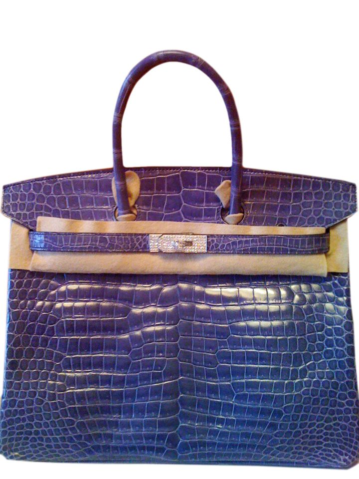 Hermès - Birkin - handbag 35cm blue sahphire diamond porosous crocodile - USD 280,000.00: