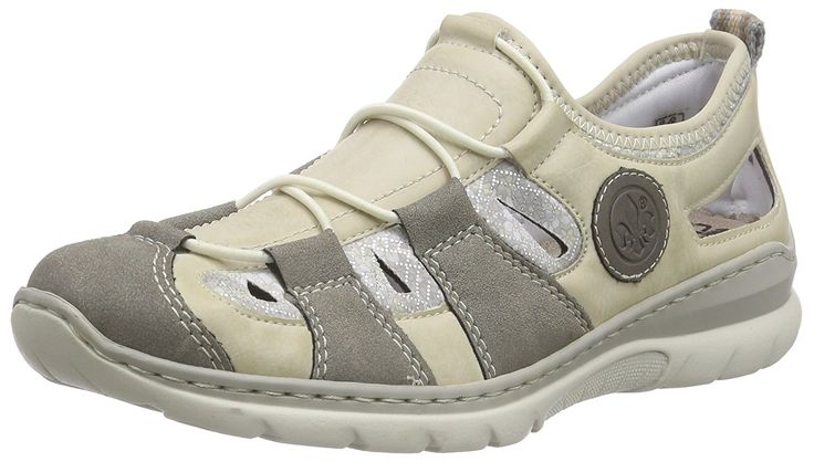 Rieker L3261-42 Ladies Casual Trainers Grey/Beige *** More info could be found at the image url.