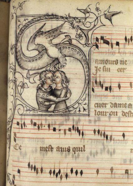 """""""Los amantes"""", de una colección de obras de Guillaume de Machaut, hecho en Francia, c.1372-77 (fuente)."""