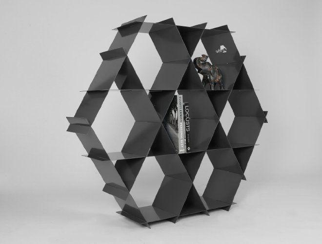 Промышленный дизайн Темно-серый металл хранения Стеллаж Дизайн Организатор Стойки Корпусная и / или Плавающие полки - Рюш стеллаж размер L