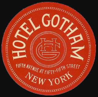 vintage Hotel Gotham, New York luggage label