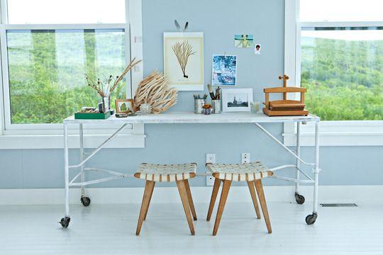 so freshSunday Inspiration, Wall Colors, Offices Desks, Modern Cottages, Work Area, Nova Scotia, Coastal Room, Living Room, Desks Spaces