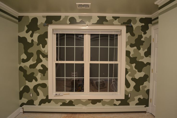 A nice camouflage accent wall for young boy 39 s room paint for Boys room accent wall