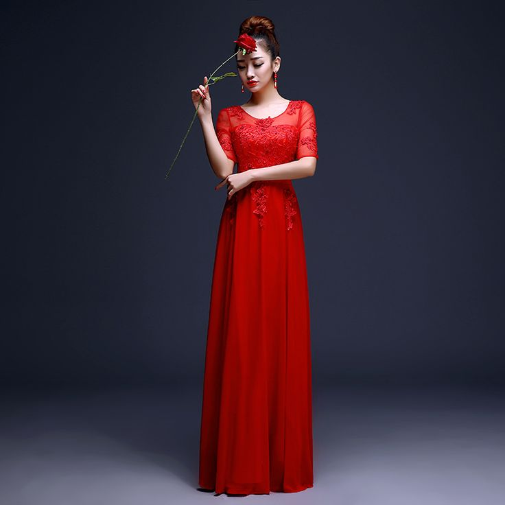 maid of honor dress long red lace - Google Search