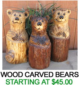 Wood Carved Bears Anniversary Gift Chainsaw Art