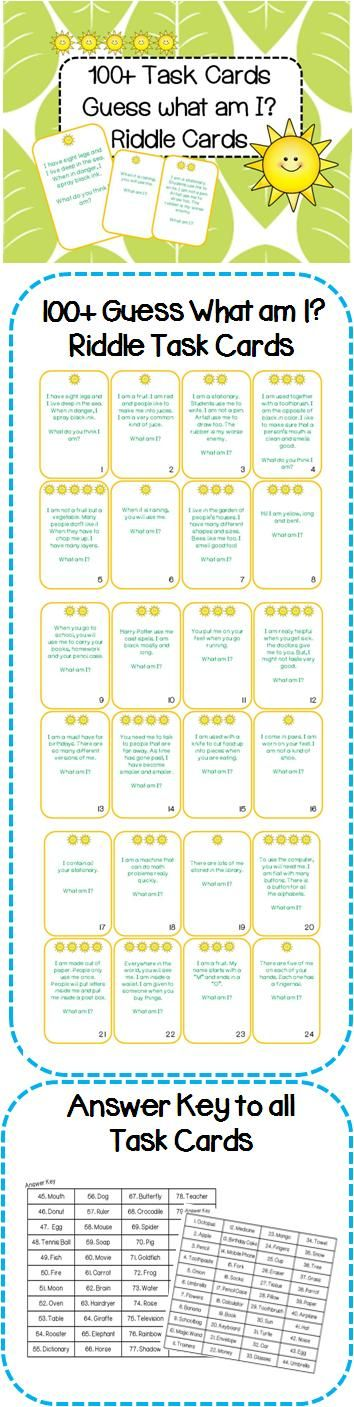 100+ What am I? Riddle Task Cards. Get kids thinking creatively and get them engaged in this interactive learning activity!    Please visit my facebook page: https://www.facebook.com/roller.english