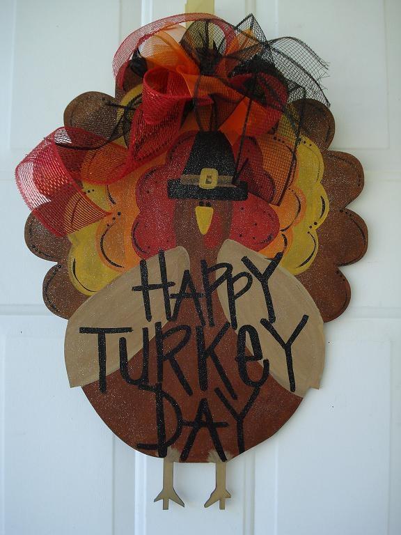 Thanksgiving Turkey Door Decor Happy Turkey Day Door Hanger Porch Sign  Personalized. $35.00, Via