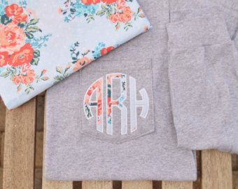 Long Sleeve Monogram Pocket Tee, Long Sleeve shirt, monogrammed pocket shirt, monogram pocket tshirt, Applique monogram pocket tee for women