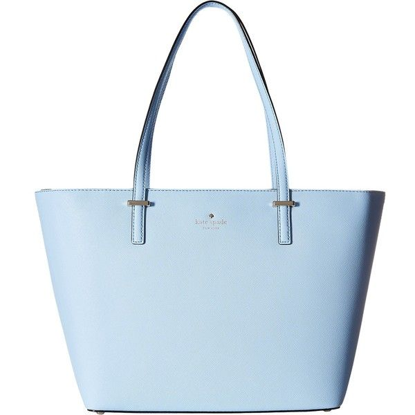 Kate Spade New York Cedar Street Small Harmony (Sky Blue) Tote... ($215) ❤ liked on Polyvore featuring bags, handbags, tote bags, purses, blue, woven leather tote, blue leather tote, travel tote bags, travel tote and kate spade tote