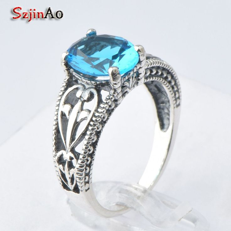 Szjinao Free shipping 925 silver antique silver jewellery blue rhinestone crystal ring for women wedding knot vintage jewelry