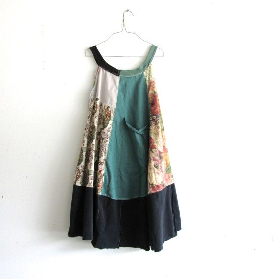 romantic Upcycled clothing / Patchwork Dress / Funky creative clothing by CreoleSha, $92.00