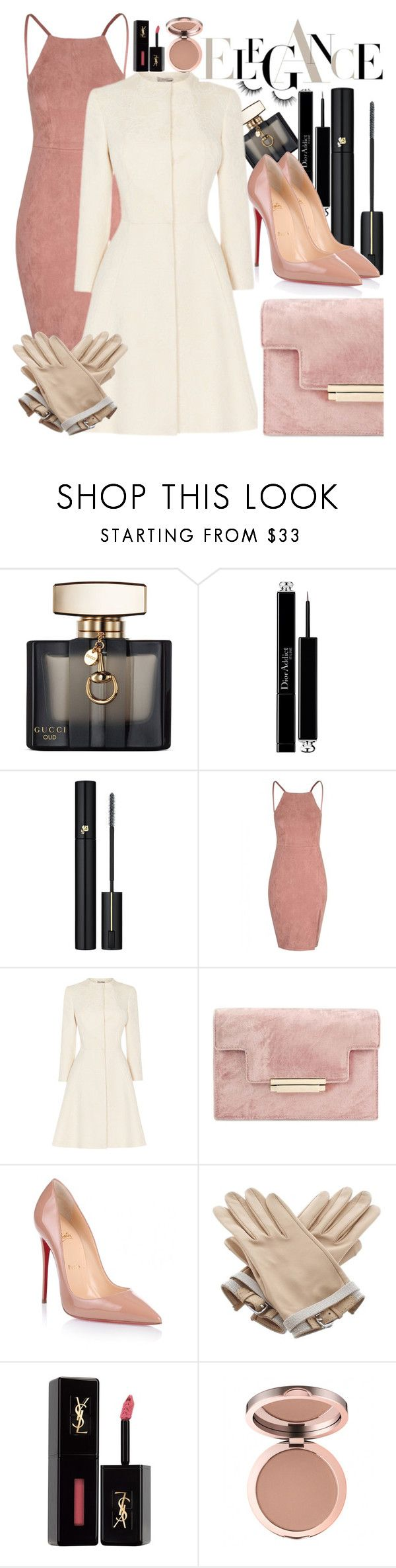 """""""Untitled #380"""" by sassymermaid ❤ liked on Polyvore featuring Gucci, Christian Dior, Lancôme, Christian Louboutin, Hermès, Yves Saint Laurent and tarte"""