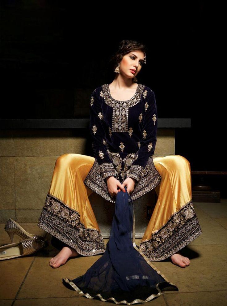 Navy Blue Velvet Designer Palazzo Suit 63929