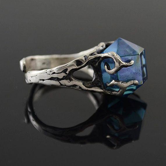 Organiczna Aqua Aura pierścionek w Amju Designs na DaWanda.com