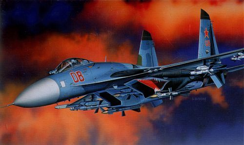 """Sukhoi Su-27 """"Flanker B"""". Academy, 1/48, injection, No.12270. Price: 31,99 GBP."""