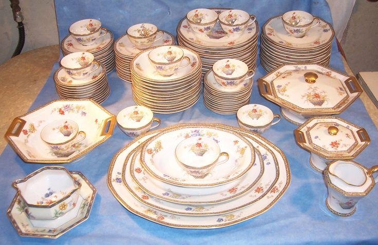 106 Pc Haviland Limoge GANGA Place Plate Dish Cup Saucer Hostess Set Coromandel